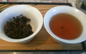 This sheng pu'er from 2007 has reached the point of being very enjoyable to drink.  Most of its astringency has gone away and what is left behind is a smooth, long lasting taste and mouth feel.  It is a little cooling with a peppery aftertaste that stays in the mouth long after you finish drinking.   We will be carrying similar teas in the store this winter, so keep your eyes open.